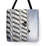 Skyscraper Window-washers - Take A Walk In The Clouds Tote Bag by Christine Till