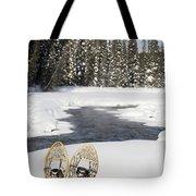 Snowshoes By Snowy Lake Lake Louise Tote Bag by Michael Interisano