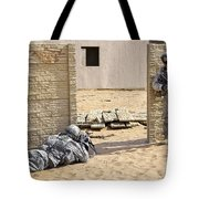 Soldiers Pull Security At A Mock Afghan Tote Bag by Stocktrek Images