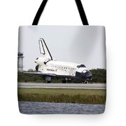 Space Shuttle Discovery On The Runway Tote Bag by Stocktrek Images