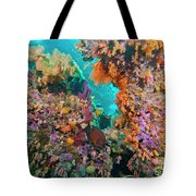 Spotted Goldring Surgeonfish And Coral Tote Bag by Beverly Factor