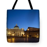 St. Peter's Basilica At Night Tote Bag by David Smith