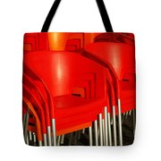 Stacked Chairs Tote Bag by Carlos Caetano