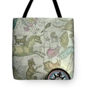 Star Map And Compass Tote Bag by Garry Gay