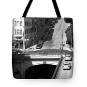 Stockton Street Tunnel Midday Late Summer In San Francisco . Black And White Photograph 7d7499 Tote Bag by Wingsdomain Art and Photography