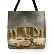 Stonehenge In Winter Tote Bag by Walter Williams
