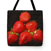 Strawberry Pyramid On Black Tote Bag by Andee Design