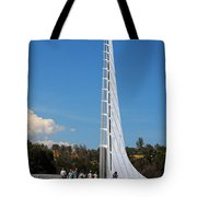 Sundial Bridge - This Bridge Is A Glass-and-steel Sculpture Tote Bag by Christine Till