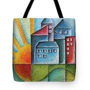Sunny Town Tote Bag by Jutta Maria Pusl