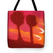 Sunset abstract trees Tote Bag by Pixel Chimp