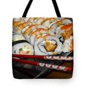 Sushi And Chopsticks Tote Bag by Carolyn Marshall