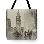 Swann Memorial Fountain In Sepia Tote Bag by Bill Cannon