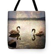 swans on Lake Varese in Italy Tote Bag by Joana Kruse