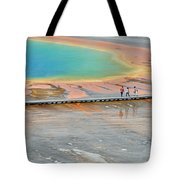 Taking A Stroll At Yellowstone's Grand Prismatic Tote Bag by Bruce Gourley