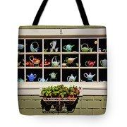 Tea Pots In Window Tote Bag by Garry Gay