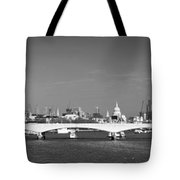 Thames Panorama Weather Front Clearing Bw Tote Bag by Gary Eason