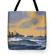 The British Cruisers Hms Exeter And Hms York Tote Bag by John S Smith
