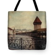 The Chapel Bridge In Lucerne Switzerland Tote Bag by Susanne Van Hulst