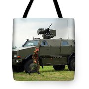 The Dingo II In Use By The Belgian Army Tote Bag by Luc De Jaeger