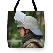 The Helmet And Visor Used Tote Bag by Luc De Jaeger