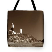The Light At Montauk Point Tote Bag by Skip Willits