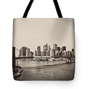 The New York City Skyline And The Brooklyn Bridge Tote Bag by Vivienne Gucwa
