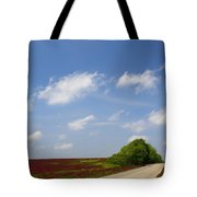 The Road Ahead Is Lined In Red Tote Bag by Kathy Clark