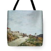 The Road To The Citadel At Villefranche Tote Bag by Eugene Louis Boudin