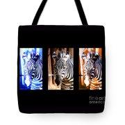 The Three Zebras Black Borders Tote Bag by Rebecca Margraf