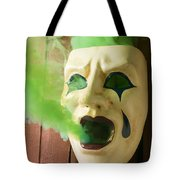 Theater Mask Spewing Green Smoke Tote Bag by Garry Gay