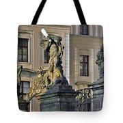 Titans Battling Outside Prague Castle Tote Bag by Christine Till