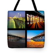 Topsail Piers At Sunrise Tote Bag by Betsy Knapp