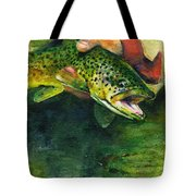 Trout In Hand Tote Bag by John D Benson