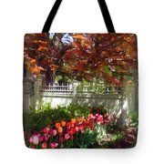 Tulips By Dappled Fence Tote Bag by Susan Savad