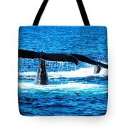 Two Whale Tails Tote Bag by Paul Ge