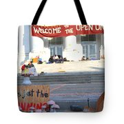 UC Berkeley . Sproul Hall . Sproul Plaza . Occupy UC Berkeley . The Is Just The Beginning . 7D10018 Tote Bag by Wingsdomain Art and Photography