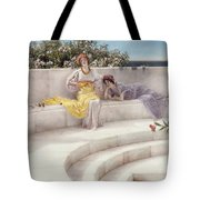 Under The Roof Of Blue Ionian Weather Tote Bag by Sir Lawrence Alma-Tadema