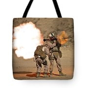 U.s. Marine Fires A Rpg-7 Grenade Tote Bag by Terry Moore