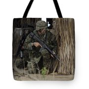 U.s. Marines Prepare To Enter A House Tote Bag by Stocktrek Images