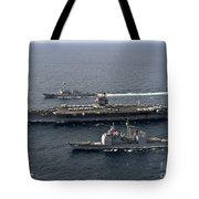 U.s. Navy Ships Transit The Atlantic Tote Bag by Stocktrek Images