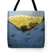 Valley And Sunlit Hillside Tote Bag by Andrew Macara