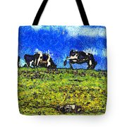 Van Gogh Goes Cow Tipping 7D3290 Tote Bag by Wingsdomain Art and Photography