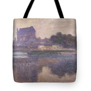 Vernon Church in Fog Tote Bag by Claude Monet