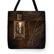 Vintage Lantern Hung In A Barn Tote Bag by Jill Battaglia