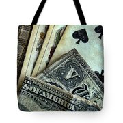 Vintage Playing Cards And Cash Tote Bag by Jill Battaglia