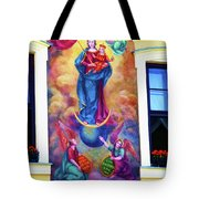 Virgin Mary Mural Tote Bag by Mariola Bitner