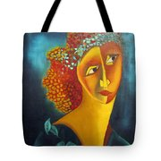 Waiting For Partner Orange Woman Blue Cubist Face Torso Tinted Hair Bold Eyes Neck Flower On Dress Tote Bag by Rachel Hershkovitz