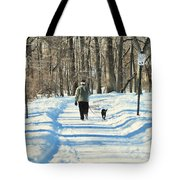 Walking the dog Tote Bag by Paul Ward