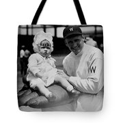 Walter Johnson Holding A Baby - C 1924 Tote Bag by International  Images