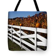 White Fence With Pumpkins Tote Bag by Garry Gay